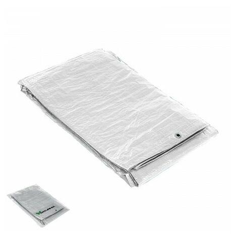 Lona impermeable reforzada 6x12 metros (aproximadamente) con ojetes metálicos, lona de protección duradera, color blanco.