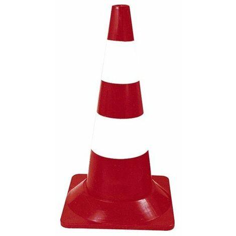 Balise signalisation rouge-blanc haut.50cm pied plast