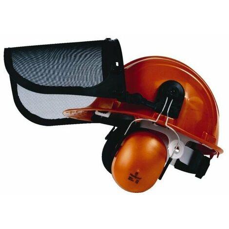 Casque forestier SINGER orange / casque coquille anti bruit / porte visière / visière grillagée - HGCF01