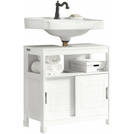 SoBuy®Mueble para debajo del lavabo, armario de baño de suelo, 1 estante y 2 puertas correderas, H60cm, FRG128-W