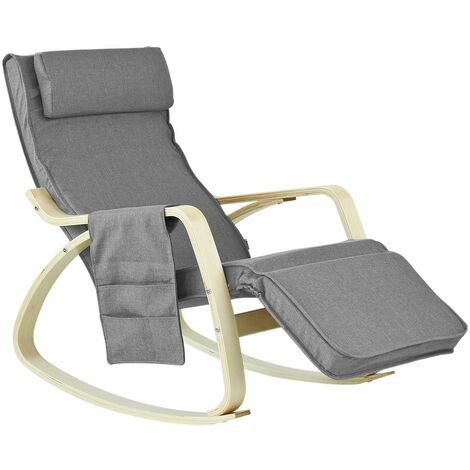 SoBuy® Sillón de relax, Mecedora, Sillón de diseño, Butaca de madera, FST18-DG