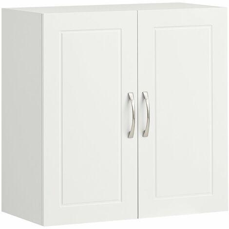 SoBuy® Armario auxiliar multiusos de pared,Armario suspendido con 2 puertas,blanco,L60 x H 60 cm,FRG231-W,ES