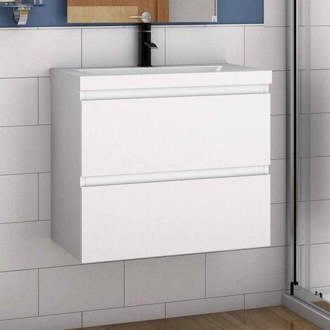 Badmöbel 50/60 cm Waschtisch + Unterschrank Vormontieren Weiss