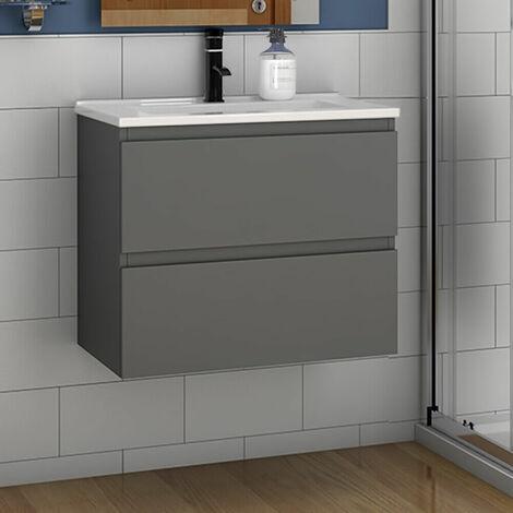 Badmöbel 50/60 cm Waschtisch + Unterschrank Vormontieren Anthrazit