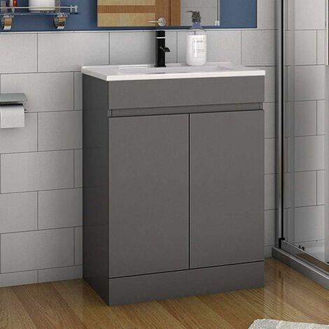 Badmöbel 50/60 cm Waschtisch + Unterschrank Standschrank Anthrazit/Weiß
