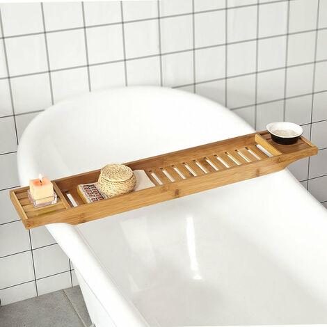SoBuy Ripiano per vasca da bagno in bambù,L80CM, FRG212-N