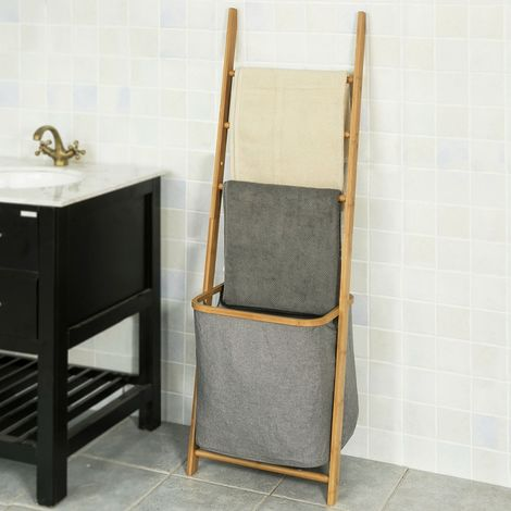 SoBuy FRG263-N, Scaffale Scala con portabiancheria salvaspazio,organizzare la bagno,impermeabile