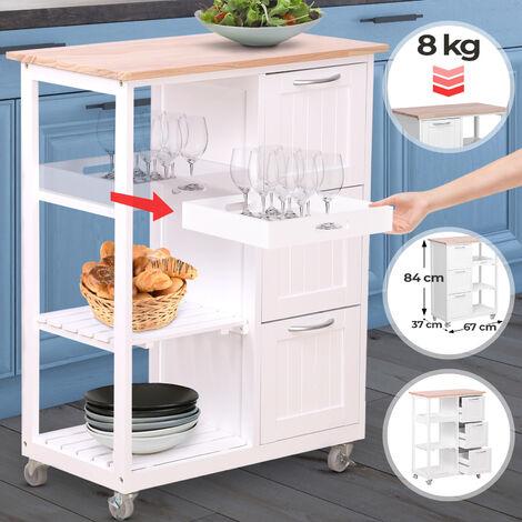 Küchenwagen auf Rollen Küchenschrank im Landhausstil 3 Schubladen Servierwagen Rollwagen Küchentrolley