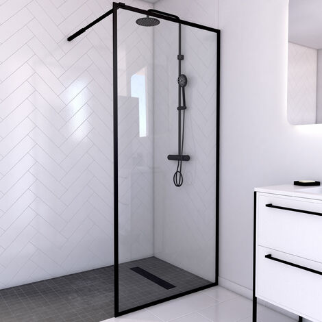Paroi de douche à l'italienne - cadre et barre de fixation ajustable NOIR MAT - verre trempé 6mm - CONTOURING