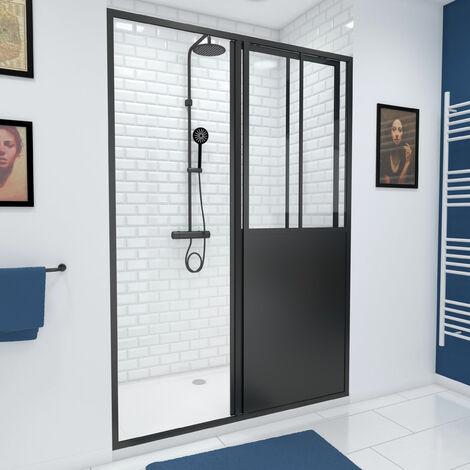 Paroi de douche à porte coulissante type atelier - 120 ou 140cm - PORTE COULISSANTE - PROFILE NOIR MAT - verre transparent 5mm - WORKSHOP SLIDING