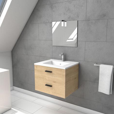 Meuble salle de bain 60 cm monte suspendu finition bois - tiroirs soft close - vasque et miroir