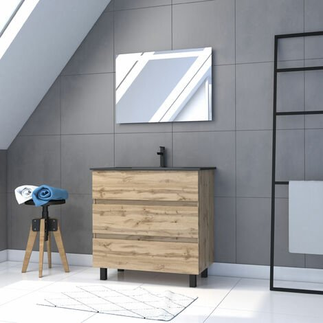 Meuble salle de bain 80x80 - Finition chene naturel + vasque noire + miroir Led - TIMBER 80 - Pack18