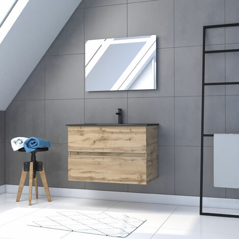 Meuble salle de bain 80x54 - Finition chene naturel + vasque noire + miroir Led - TIMBER 80 - Pack12