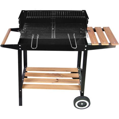 Barbecue braciere portatile in metallo ferro e acciaio a legna e carbonella BBQ carrello grill