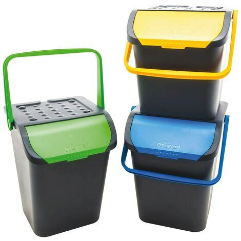Tris mastelli pattumiera contenitori componibili 3PZ x 28LT per raccolta differenziata rifiuti bidoni secchio apertura con blocco di sicurezza antirandagismo