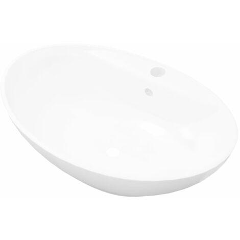 Luxuriöses Keramik Waschbecken Oval + Überlauf 59 x 40cm