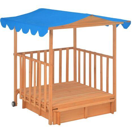 Kinderspielhaus mit Sandkasten Tannenholz Blau UV50