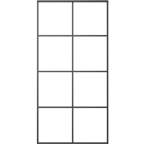 Schiebetür Aluminium und ESG-Glas 102,5×205 cm Schwarz