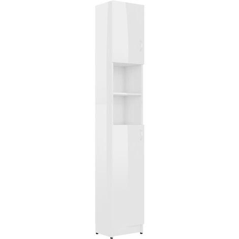 Badezimmerschrank Hochglanz-Weiß 32×25,5×190 cm Spanplatte