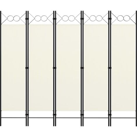 5-tlg. Raumteiler Cremeweiß 200x180 cm
