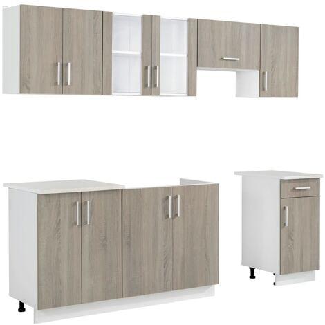 vidaXL Kitchen Cabinet Unit 7 Pieces Oak Look - Brown