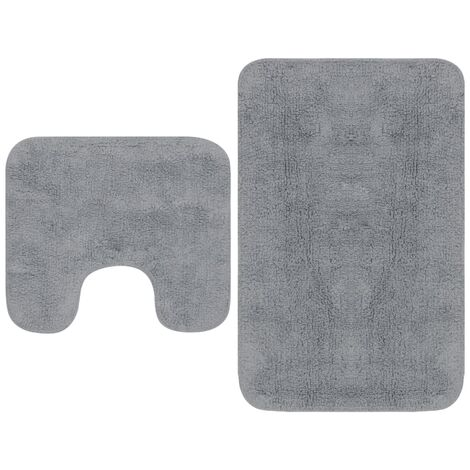 Bathroom Mat Set 2 Pieces Fabric Grey