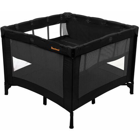 "Baninni Travel Cot ""Venezia"" Black Baby Toddler Furniture Travelling Playing Playpen Sleeping Bed Foldabel Space-saving Indoor Outdoor"
