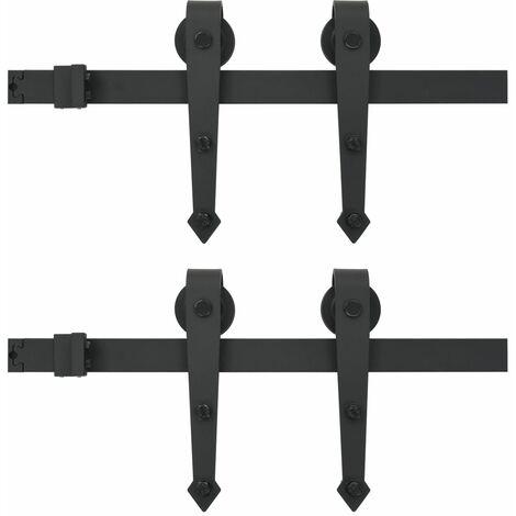 vidaXL Sliding Door Hardware Kit 2x183 cm Steel Black - Black
