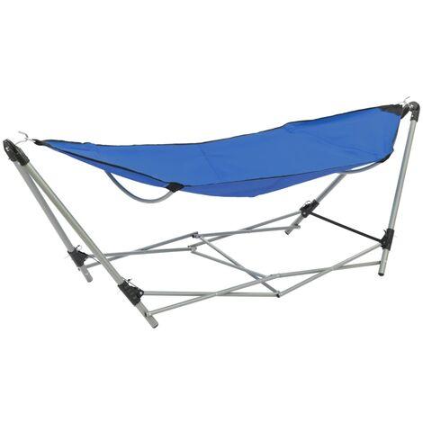 vidaXL Hammock with Foldable Stand Blue - Blue