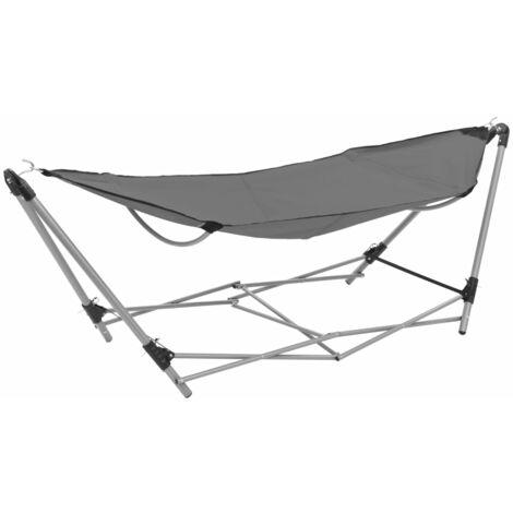 vidaXL Hammock with Foldable Stand Grey - Grey