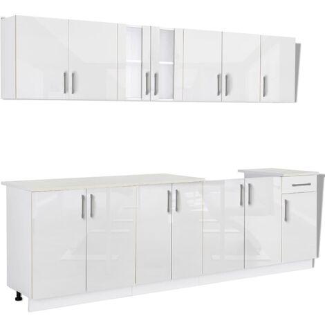 8 Piece Kitchen Cabinet Unit High Gloss White 260 cm