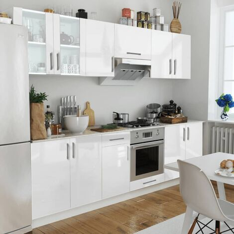 Kitchen Cabinet Unit 8 Pieces High Gloss White 260 cm