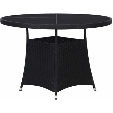 vidaXL Garden Table Black 110x74 cm Poly Rattan - Black