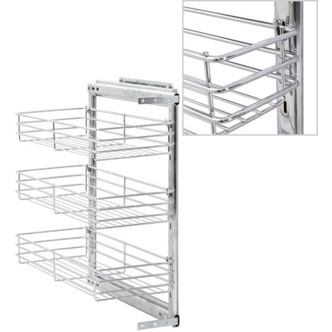 3-Tier Pull-out Kitchen Wire Basket Silver 47x25x56 cm