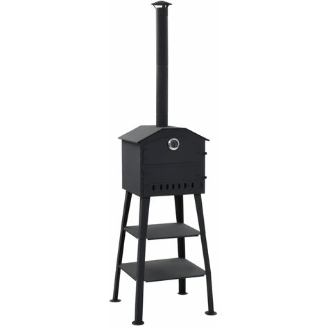 vidaXL Outdoor Pizza Oven Charcoal Fired with 2 Fireclay Stones - Black