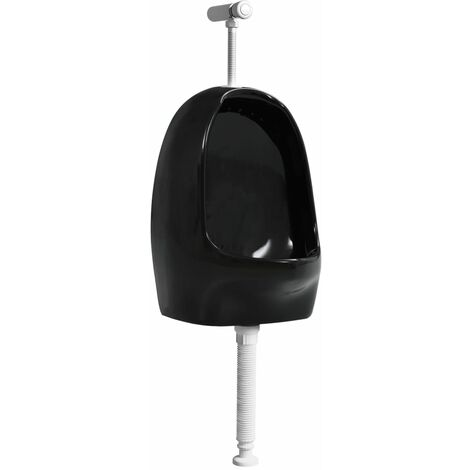Wall Hung Urinal with Flush Valve Ceramic Black