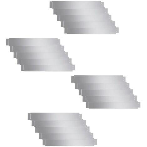 Set of 20 Flexible Lawn Fence Galvanised Steel 100 x 15 cm