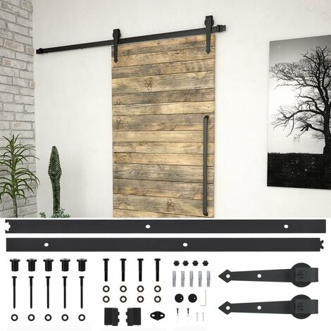 vidaXL Sliding Door Hardware Kit 200 cm Steel Black - Black