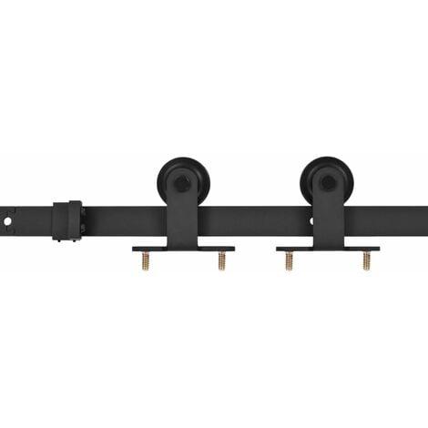 vidaXL Sliding Door Hardware Kit 183 cm Steel Black - Black
