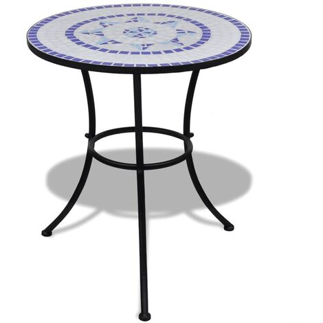 vidaXL Bistro Table Blue and White 60 cm Mosaic - Blue