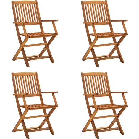 vidaXL Folding Outdoor Chairs 4 pcs Solid Acacia Wood - Brown