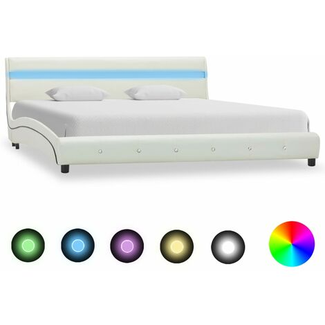 Bed Frame with LED White Faux Leather 180x200 cm