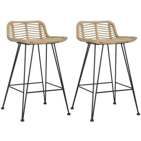 Bar Chairs 2 pcs Natural Rattan