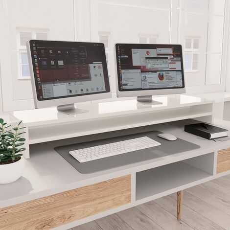 Monitor Stand High Gloss White 100x24x13 cm Chipboard