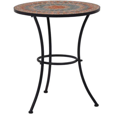 Mosaic Bistro Table Orange/Grey 60cm Ceramic