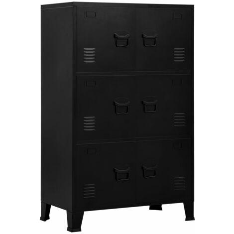 Filing Cabinet with 6 Doors Industrial Black 75x40x120 cm Steel