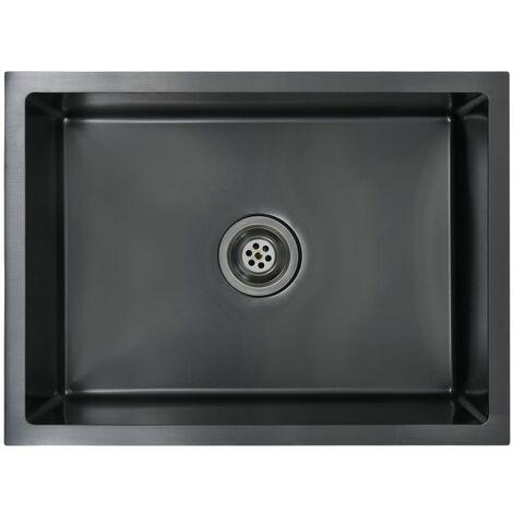 vidaXL Handmade Kitchen Sink with Strainer Black Stainless Steel - Black