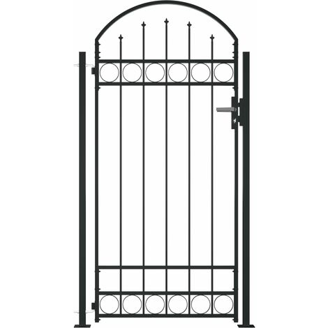 vidaXL Fence Gate with Arched Top and 2 Posts 105x204 cm Black - Black