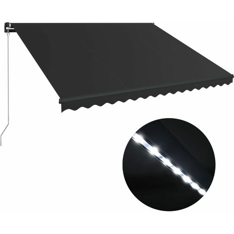 vidaXL Manual Retractable Awning with LED 400x300 cm Anthracite - Grey