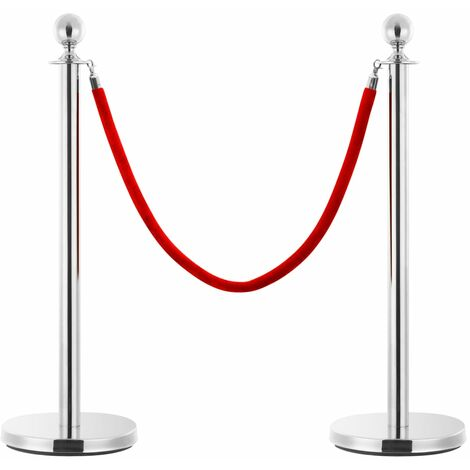vidaXL Stanchion Stand Rope Red and Silver Velvet - Red
